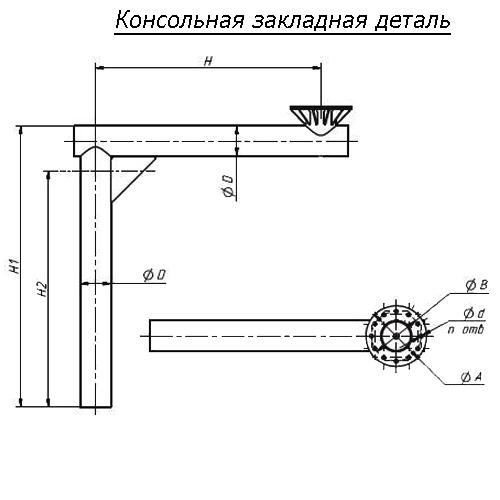 Консольная закладная деталь В-/20/24/30/4/8/Д/300/310/360/370/380/-1,7-б