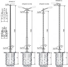 Опора квартальная ОГККЗ-7.5/ОТКрКЗ-7.2 (133)/ОТКрКЗ-7.2 (108)/ОТКвКЗ-7.5/ для подземной подводки питания