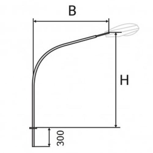 Кронштейн (К2) однорожковый для установки консольного светильника