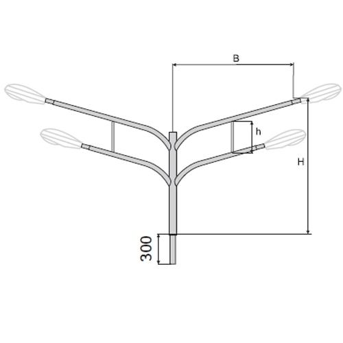 Кронштейн (К10) четырёхрожковый для установки консольных светильников