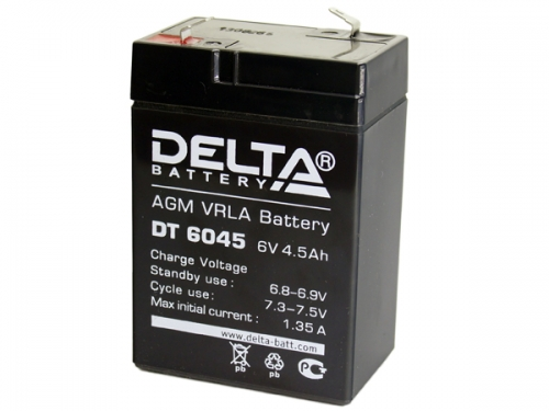 Аккумулятор 6V 4.5Ah Delta DT 6045