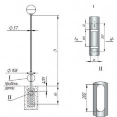 Опора ОТП-/2.0/2.5/3.0/3.2/3.5/3.7/-/0.8/1.0/-108-57 трубчатая прямостоечная